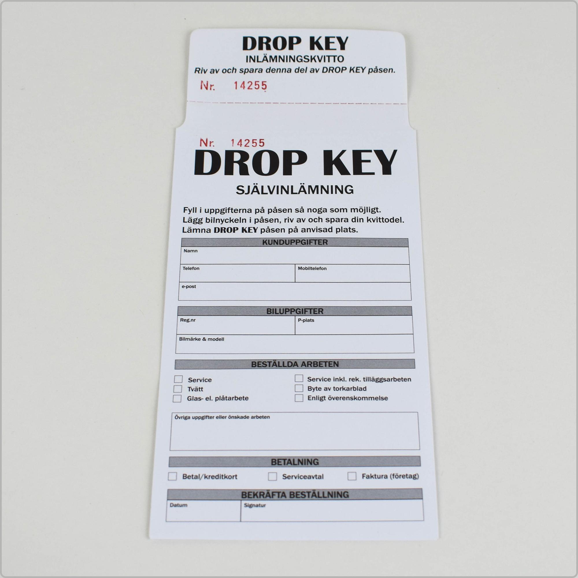 Nyckelpåse numrerad